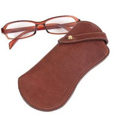 """This eyeglass case is made from polished bridle leather. Security strap keeps glasses in place. Leather eyeglass case in brown. 6½""""H x 3""""W. Made in USA."""