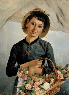 Aukusti Uotila (Finnish, - Flower Girl, 1885 by lauren Old Paintings, Flower Paintings, Famous Art, Post Impressionism, Flower Market, Counted Cross Stitch Patterns, Painting & Drawing, Art Museum, Amazing Art