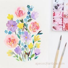 Make a beautiful watercolor flower painting in 30 minutes! Easy tutorial & video for beginners. Lots of tips & techniques to paint loose floral watercolors. Herb Garden In Kitchen, Veg Garden, Vegetable Garden Design, Garden Trellis, Garden Pots, Shade Plants Container, Container Flowers, Container Gardening, Regrow Vegetables
