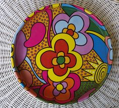 Fabulously Mod Flower Power Psychedelic Round Metal Serving Tray by retrowarehouse on Etsy