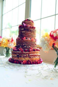 naked wedding cake DIY Colourful Village Hall Wedding http://myfabulouslife.co.uk/