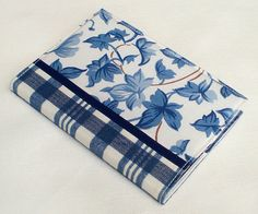 Fabric Journal  Blue Ivy with Tartan  Handmade by PatchworkMill, $18.00