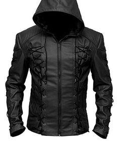 Roy Harper Black Arrow Jacket, Men Leather Jacket, Celebrity Jackets for Men - Outerwear Suede Leather Jacket, Leather Jacket With Hood, Faux Leather Jackets, Leather Men, Black Leather, Leather Hoodie, Hooded Leather Jacket, Style Masculin, Revival Clothing