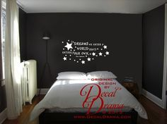 """In DREAMS We Enter a WORLD that's Entirely Our Own,  Albus Dumbledore quote, Harry Potter JK Rowling, wall decal: approximately 23"""" x 12"""""""
