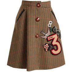 Hound's-tooth embellished-appliqué wool skirt Miu Miu... (€1.850) ❤ liked on Polyvore featuring miu miu