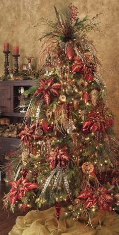 Feather christmas tree ... I decorate many trees starting the day after Thanksgiving.. go outside the box and add flash and flavor to your trees!
