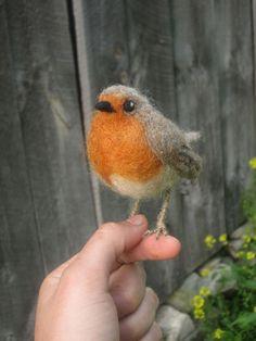 European Robin needle felted bird by Ainigmati on Etsy, $55.00