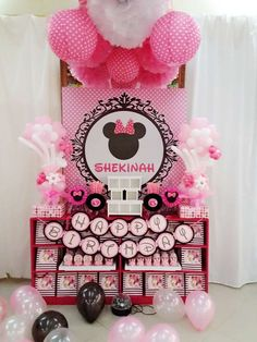 Pink and black Minnie.Mouse birthday party! See more party planning ideas at CatchMyParty.com!