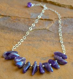 """Amethyst sticks and sterling silver chain. Necklace approximately 22"""" in length with 2"""" extender. Coordinating necklace and bracelet sold separately. Stones may vary slightly."""