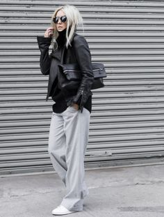 leather jacket & grey joggers AW Street Style