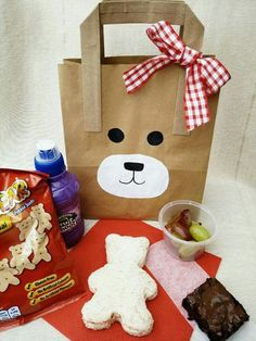 Teddy Bears' Picnic Bag £4.95  We hand decorate these gorgeous bags and then fill them will yummy food! Perfect for your woodland adventures and birthday celebrations!