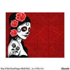 Day of the Dead Sugar Skull Girl - red 4.25x5.5 Paper Invitation Card