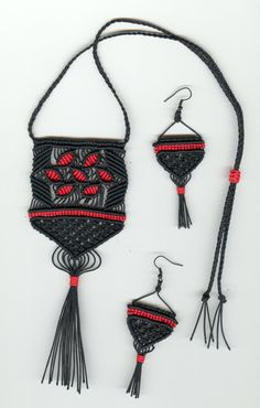 Red and Black Micromacrame Necklace and Earrings  20% off till May 1, 2016 Use coupon code CELEBRATE at checkout!