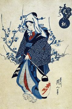 evening plum blossom and a geisha / keisai yeisen / 19th century