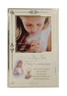 COMMUNION PHOTO FRAME ANTIQUE FINISH - GIRL