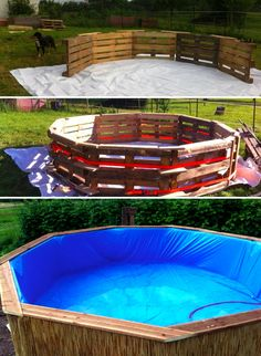 7 DIY Swimming Pool Ideas and Designs: From Big Builds to Weekend Projects – Home Tree Atlas 7 ideas and designs for DIY swimming pools: From large buildings to weekend projects – # 6 DIY pallet swimming pools Homemade Swimming Pools, Diy Swimming Pool, Homemade Pools, Building A Swimming Pool, Swiming Pool, Diy Pool, Swimming Pool Decorations, Kiddie Pool, Pool Spa