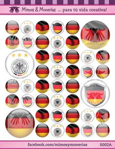 """Germany 2014 FIFA World Cup Flags Bottle Cap Images 1"""" Circles - 8.5"""" x 11"""" Digital Collage Sheet - Buy 1 Get 1 FREE of another Country"""