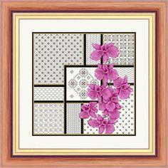 Orchids and Blackwork - Aida Kit