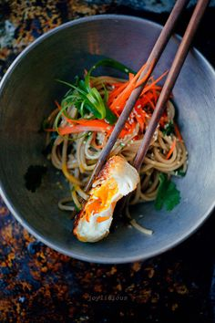 Soba Noodles with Fried Egg (soba noodles, lime, soy sauce, honey, sesame oil, carrot, toasted sesame seeds, cilantro, green onion, eggs)