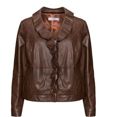 Persona Brown Plus Size Lamb leather ruffle-collar jacket (7 385 ZAR) ❤ liked on Polyvore featuring outerwear, jackets, brown, plus size, brown jacket, pocket jacket, zip jacket, zipper jacket and plus size jackets