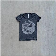 Women tshirt / t shirt for women  full moon print by blackbirdtees, $26.00