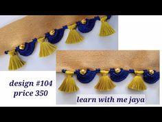 ಸೀರೆ ಕುಚ್ಚು kuchu tutorial with English subtitle . Saree Tassels Designs, Saree Kuchu Designs, Blouse Designs, Lord Ganesha Paintings, Chrochet, Sarees, Arch, Blouses, English