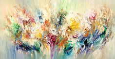 """Softly Breeze L 2  Contemporary art . Acrylic painting on canvas Original with certification of authenticity. Size of this abstract  painting: 61.0""""w x 31.5""""h x 1.5""""d"""