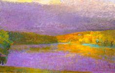 Artwork by Wolf Kahn, Imaginay Lake Shore