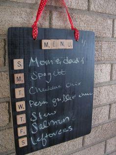 Chalkboard and Scrabble Tile Menu Board