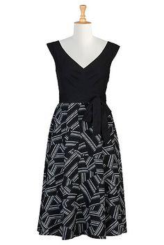 Geo print cotton poplin dress