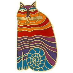 * NEW * Laurel Burch RAINBOW CATS Gold & Cloisonne Cat Pin on eBay!