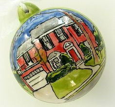 Custom home portrait Christmas ornament- housewarming gift personalized with names, year from your photo by Cathie Carlson. $30.00, via Etsy.