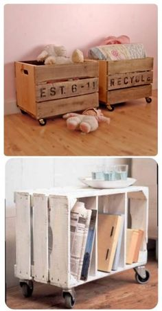 DIY Decor Ideas for Pallets {pallet - DIY – Repurpose crates with casters to make side tables or toy boxes. Crates often c - Reclaimed Wood Furniture, Wood Crates, Repurposed Furniture, Pallet Furniture, Wood Crate Shelves, Furniture Ideas, Pallet Crates, Pallet Sofa, Plywood Furniture