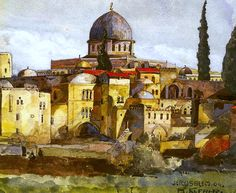 Jerusalem, Dome of the Rock Bartle Kleber - 1904 Painting & Drawing, Watercolor Paintings, Dome Of The Rock, Jerusalem, Israel, Cities, Arch, Paper, Drawings