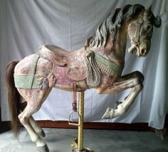 A carved and painted early prancer carousel horse by Gustav Dentzel… Carosel Horse, Westerns, Wooden Horse, Painted Pony, Merry Go Round, All The Pretty Horses, Vintage Horse, Equine Art, Horse Love