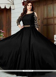Party Wear Black Art Silk Gown Style Kameez With Cut Out Shoulder Indian Gowns Dresses, Pakistani Dresses, Evening Dresses, Afternoon Dresses, Flapper Dresses, Silk Anarkali Suits, Anarkali Dress, Black Anarkali, Designer Party Wear Dresses