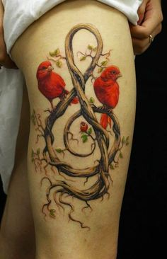 """The songbird sings the song he always sings..."" < That song popped into my head when I beheld this artful #tattoo."