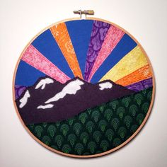 SALE 35% OFF - Now $35.75  A surreal sunset... #embroidery #mountains