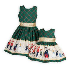 Classic Nutcracker Ballet Dress The Wooden Soldier Exclusive Celebrate the Nutcracker in style! A festive green with red and gold diamond pattern has Nutcracker characters dancing all around the full skirt. Girls Ballet Dress, Ballet Clothes, Stella York, Little Girl Dresses, Girls Dresses, Faviana Dresses, Wedding Dress, Girls Christmas Dresses, Dance Outfits
