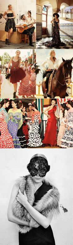 I want the black and white polka dotted beauty as a skirt perhaps.   Spanish revival! Velvet and lace!