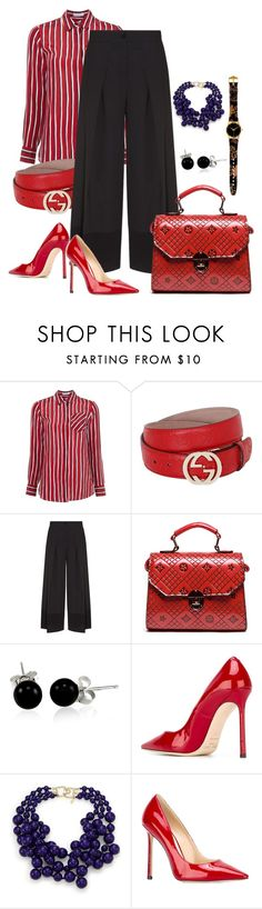 """""""Red & Black"""" by bb60477 ❤ liked on Polyvore featuring Altuzarra, Gucci, Emporio Armani, Bling Jewelry, Jimmy Choo and Kenneth Jay Lane"""