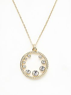 Swarovski Jewelry  Gold Open Circle Crystal Pendant Necklace. Elegant! #jewelry