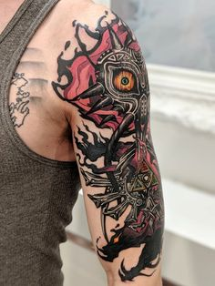 Alex Rodway > The Legend of Zelda: Majora's Mask Gamer Tattoos, Anime Tattoos, Boy Tattoos, Tribal Tattoos, Sleeve Tattoos, Tattoo Sleeves, Legend Of Zelda Tattoos, The Legend Of Zelda, Nintendo Tattoo