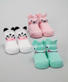 Another great find on #zulily! Pink & Teal Animal Friends Three-Pair Socks Set #zulilyfinds