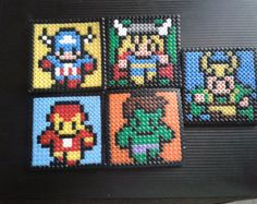 Five Avengers Handcrafted Hama Bead Coaster set (includes Loki)