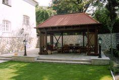 Bp. II. kerület Rómer Flóris utca magánvilla | Pro Natura Kert Flagstone, Hungary, Gazebo, Outdoor Structures, Kiosk, Cabana