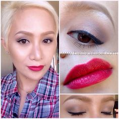 Urban Decay NAKED 1 palette -  virgin (browbone) tease (crease/transition) sidecar (inner/mid lid) hustle (outer lid)  MUFE aqua brow 15  MAC Marilyn Monroe lipstick - Charmed I'm Sure and Riri Woo  FannySerrano powder foundation in Orleans and Rajah