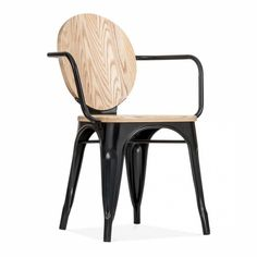 Cult Living Louis Black Metal Armchair with Wood Seat Option | Cult UK