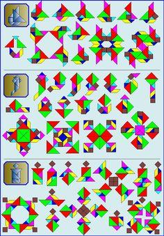 Puzzelen met ronde en vierkante tangrams - Vierkante tangram - Pagina KV6