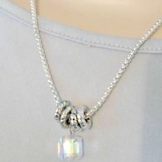 Chain necklace awesome cube crystal 18 inch chain with rings free shipping by RememberThis3 on Etsy